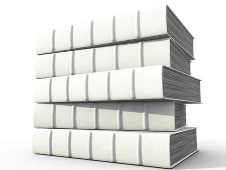 electronic book: Stack of books over white background