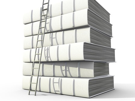 kindle: Stack of books over white background