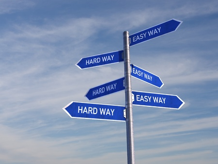 hard way: Blue Road Sign over cloudy Sky direct to the Hard and Easy Way