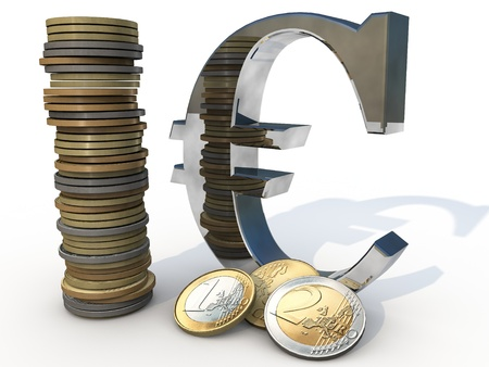 finacial: Euro Sign with differnt Euro Coins Stock Photo