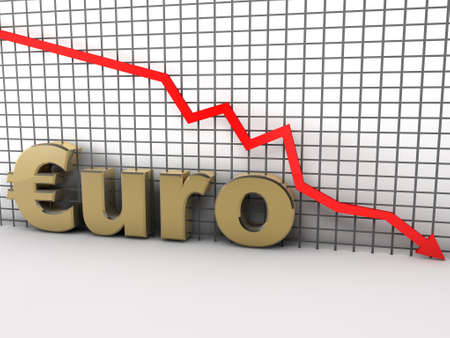 Euro chart is going down and hits the ground photo