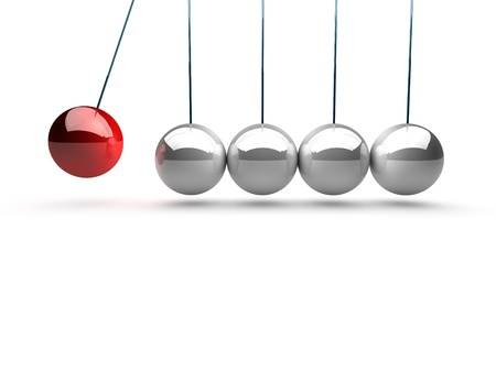 balancing balls newtons cradle over white background photo