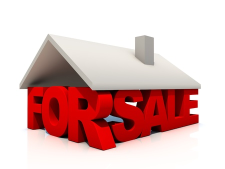 House For Sale over white Background 写真素材