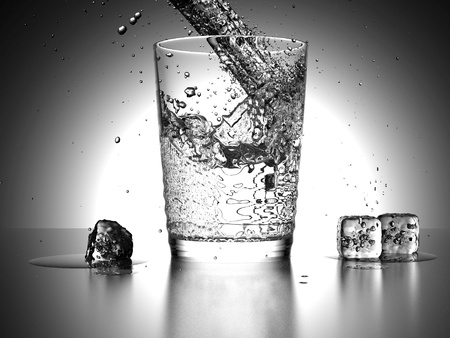 inflow: Water Splash into a glass with icecubes beside the glass