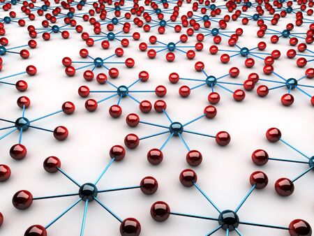 Network symbolized by red and blue connected spheres Stock Photo - 11644707