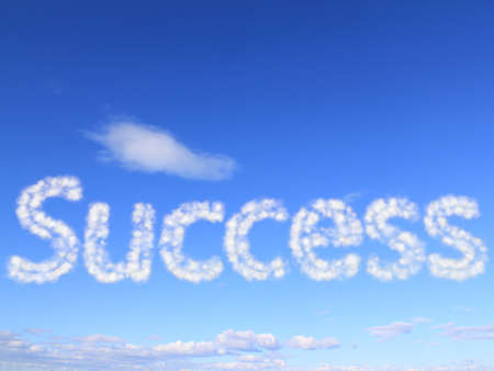 int: Success int the sky as clouds Stock Photo