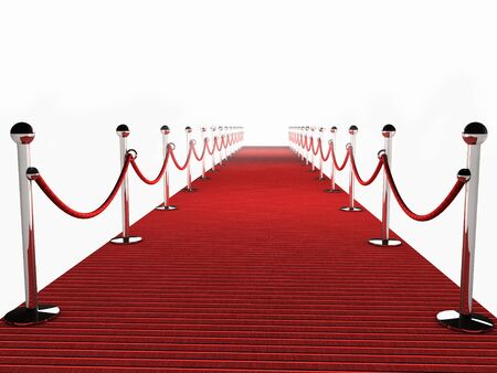 Red Carpet op witte achtergrond Stockfoto