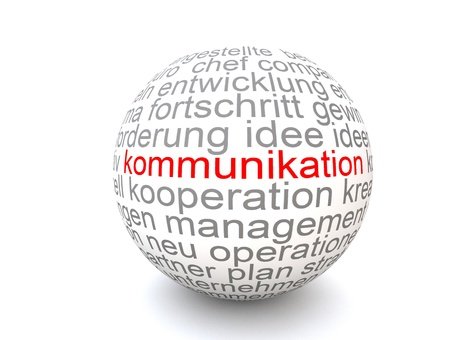The Word Kommunikation on a white Sphere Stock Photo