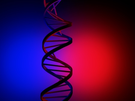 DNA Strand over blue and red background photo
