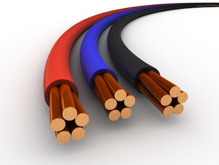 electrical wires: Three Cables red, blue and black