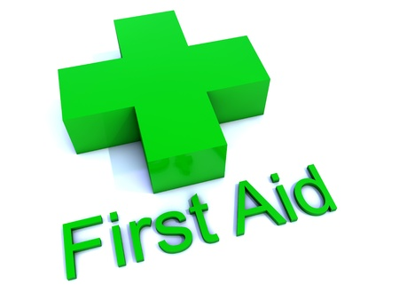 first aid sign: Green First Aid Cross