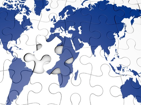 blue Worldmap as a jigsaw puzzle
