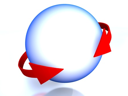 Sphere surrounded by red arrows Stock Photo - 11644663