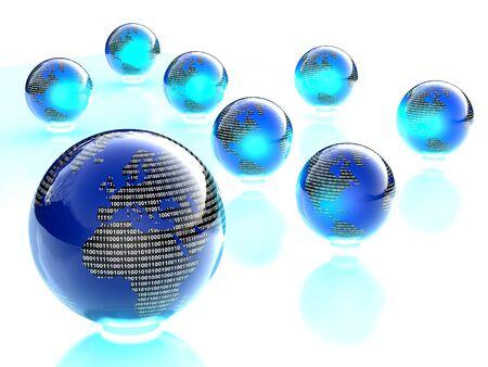 digital binary shiny blue and black world globes Stock Photo - 11644687