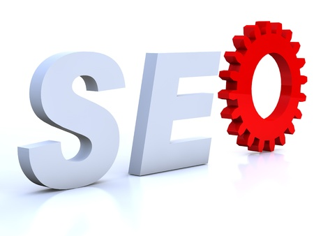 SEO with red cogwheel as O Stock Photo - 11644679