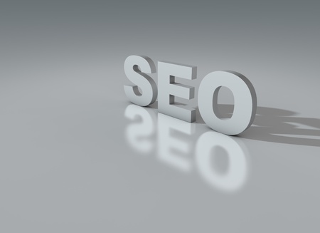 Search engine optimization simple sign over shiny floor Stock Photo - 11644681