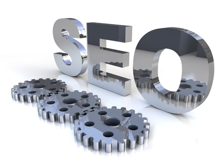techiques: Search engine optimization with cogwheels over white background