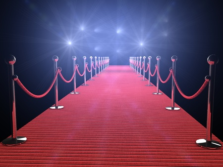 red carpet with flash lights in the background Stock Photo
