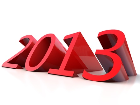 New Year 2013 over white Background Banque d'images