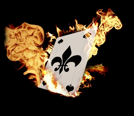 poker cards: Burning Card illustration over black background Stock Photo