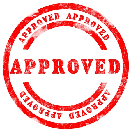 approved: Red Approved Stamp over white background Stock Photo