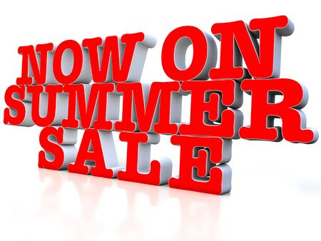 Now on Summer sale 3d over white background Stock Photo - 12609330