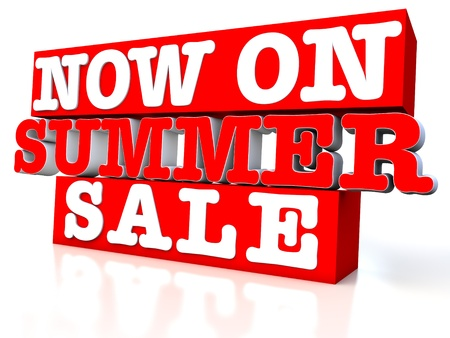 now on summer sale 3d over white background Stock Photo - 12609329