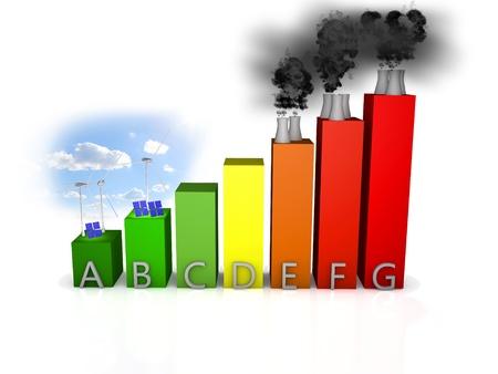 eficiencia energética: curva de eficiencia energética sobre el fondo blanco Foto de archivo