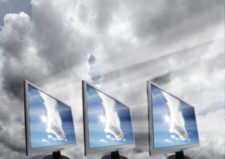 Cloud Computing over cloudy sky Stock Photo - 12609335