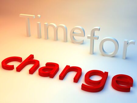 evolve: the words time for change over a red and blue background
