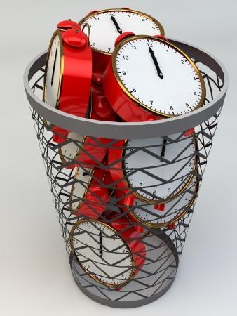 gestion del tiempo: Perder el tiempo despertadores concepto en la basura