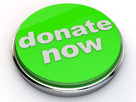 charitable: green donate now button with chrome over white Background