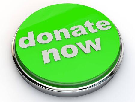 limosna: verde de donación hoy con cromo sobre fondo blanco Foto de archivo