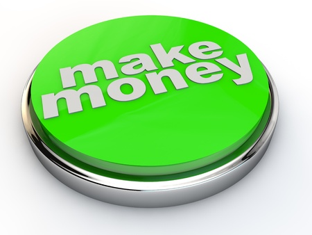 green make money button with chrome over white Background photo