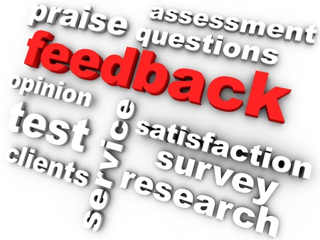 feedback in red surrounded by relevant words