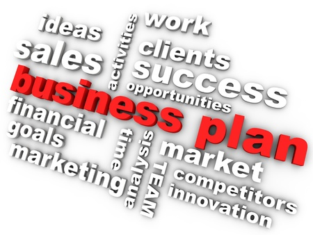 pertinente: plan de negocios en rojo rodeado por las palabras relevantes Foto de archivo