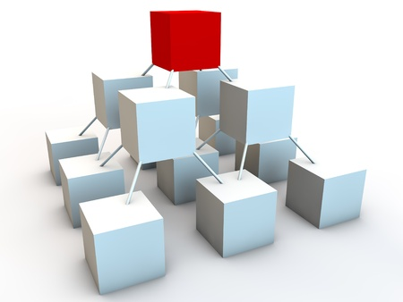 cubos conectados como símbolo de la red Foto de archivo
