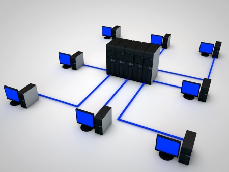network connected to several Servers Stock Photo - 13187046
