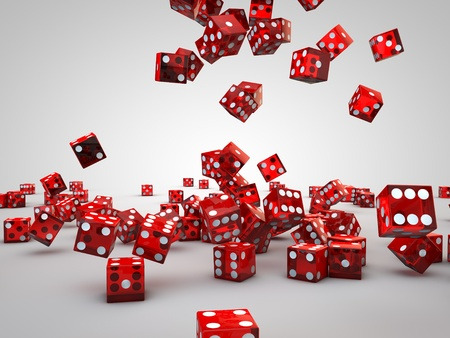 red casino dices falling down on floor Stock Photo
