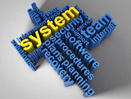 System, surrounded by relevant words Stock Photo