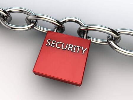 securing: red security lock securing two chains