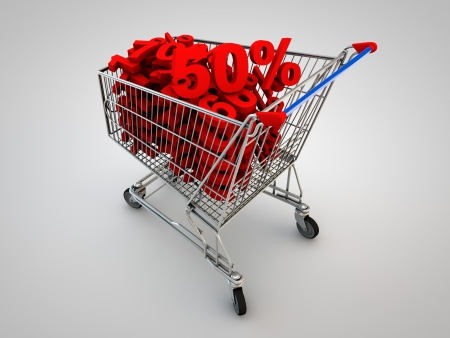 Shopping cart full of percentage  Concept of discount  photo
