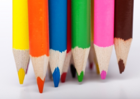 Colored Pencils on their tips Stock Photo - 13630796