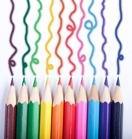 colored pencils: Colored Pencils drawing lines Stock Photo