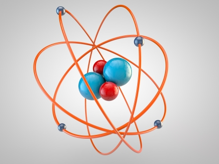 raytrace: red Protons and blue neutrons surounded by electrons Stock Photo
