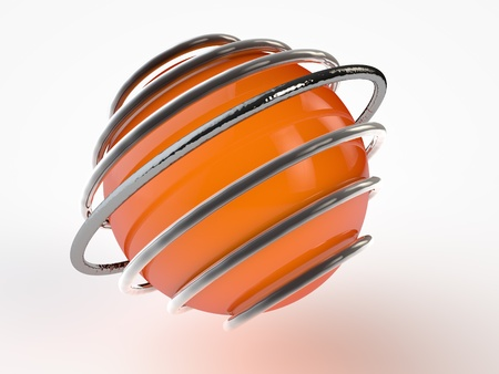 Orange Sphere surrounded by chrome rings Фото со стока