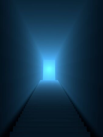 enlightment: Stair lead to a blue enlighted door