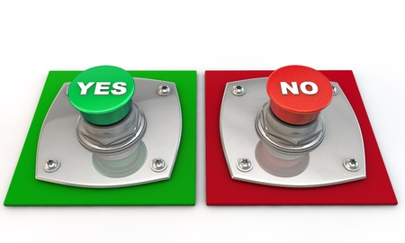 Yes no maybe Button over white Background Stock Photo