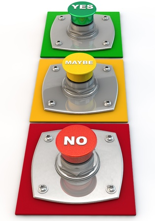 answer approve of: Yes no maybe Button over white Background Stock Photo