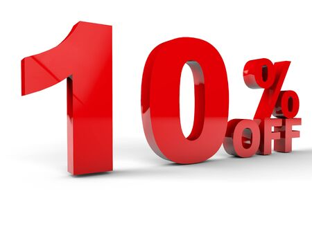 Sale Discount percentage red over white background photo
